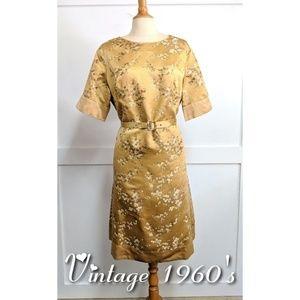 Vintage Handmade1968 sheath dress gold size 12-14